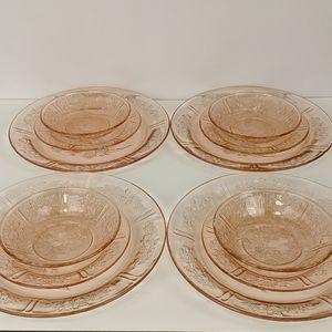 Vtg Pink Depression Glass Dishes 12 total